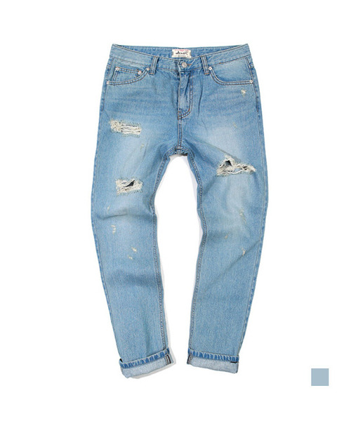 Damage Washed Denim Light Blue