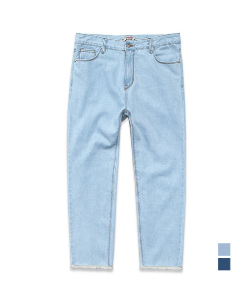Crop Cutting Regular Denim Light Blue