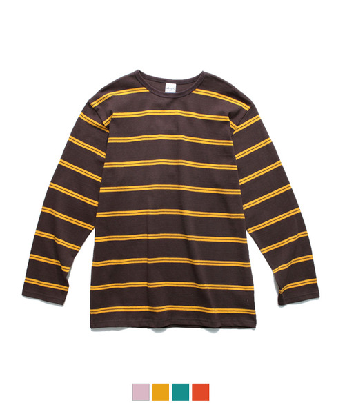Color Stripe Long Sleeve T-Shirt Brown/Yellow