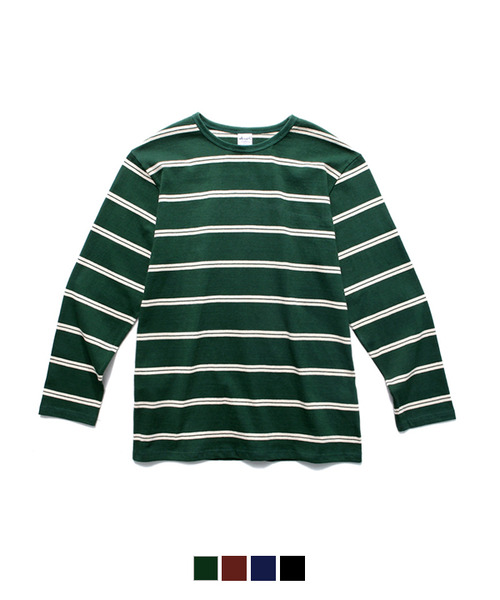 White Stripe Long Sleeve T-Shirt Green