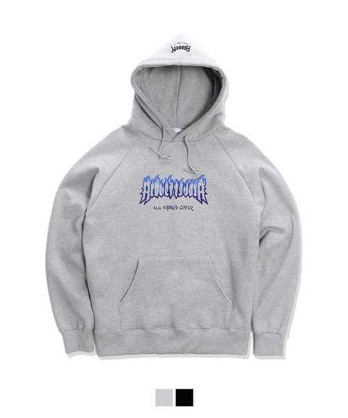 [기모안감] Burn Printing Over Fit Tumble Hoodie Gray