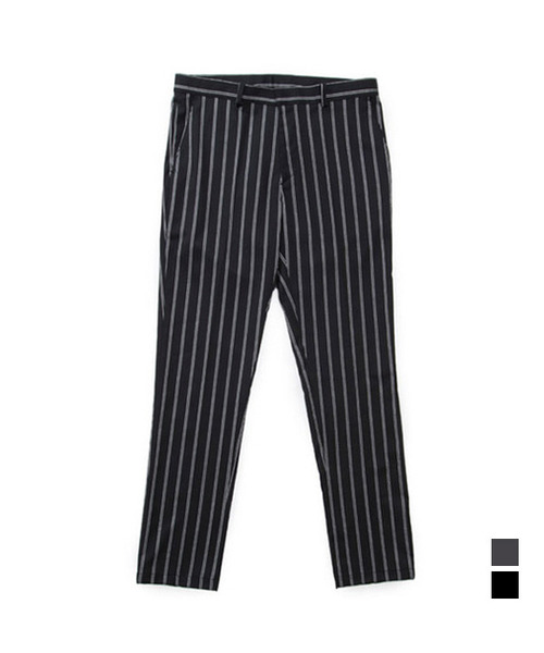 Pajamas Stripe TR Slim Slacks Black