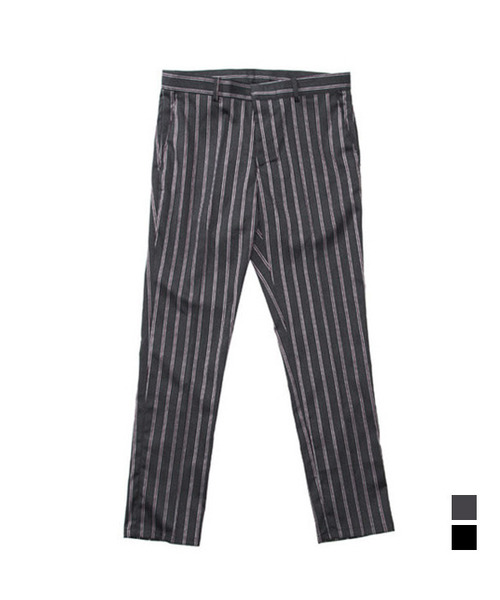 Pajamas Stripe TR Slim Slacks Gray