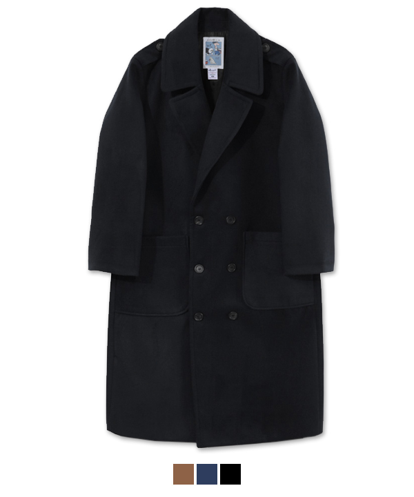 [1월23일 예약배송]XX Lapel Double Breasted Coat Black