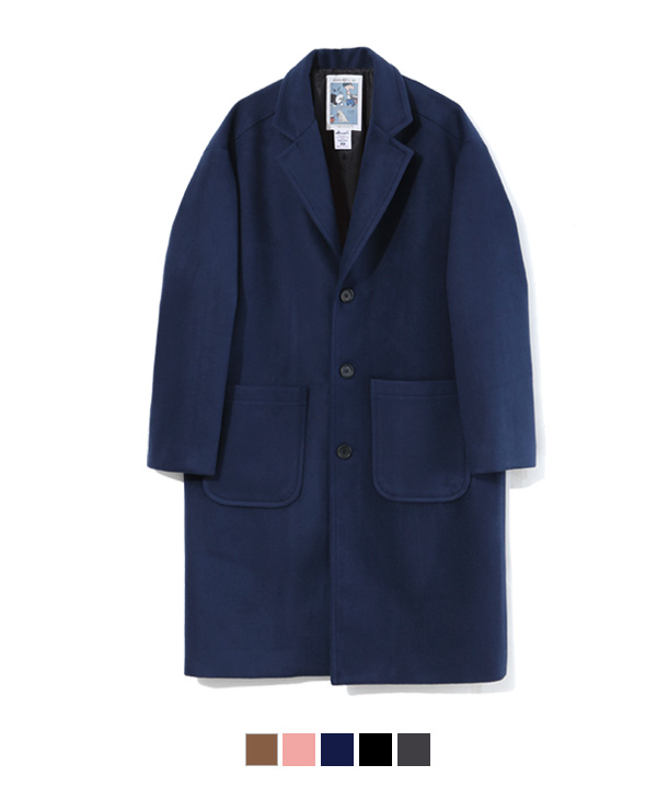 Pocket Wool Single Coat Navy
