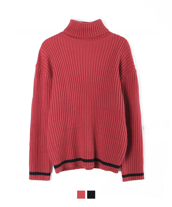 Line Turtleneck Knit Indi Pink