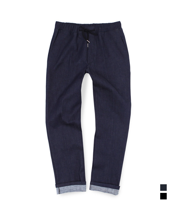 [기모] Denim Two Pocket Banding Pants Blue