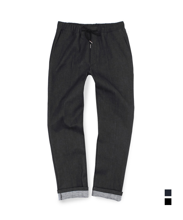 [기모] Denim Two Pocket Banding Pants Black