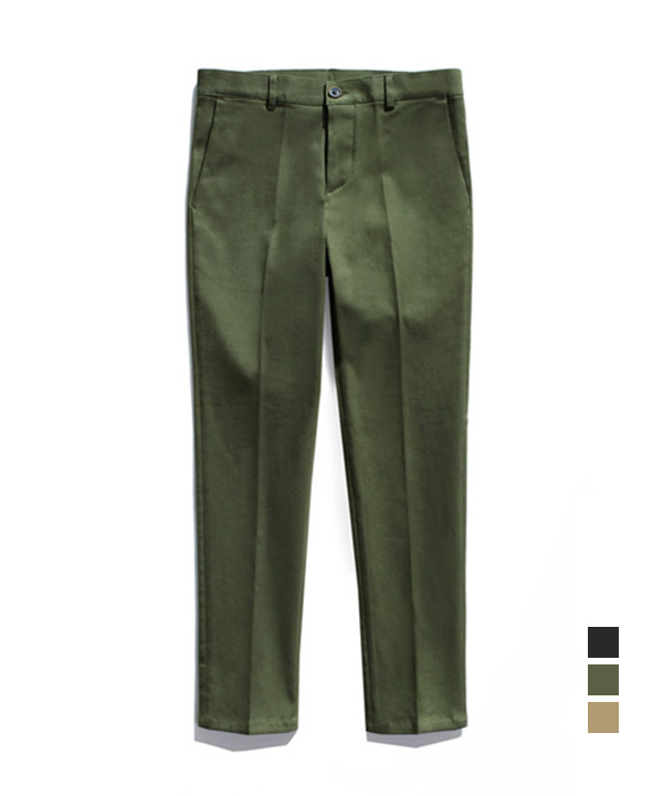 [기모] Slim Straight Cotton Pants Khaki