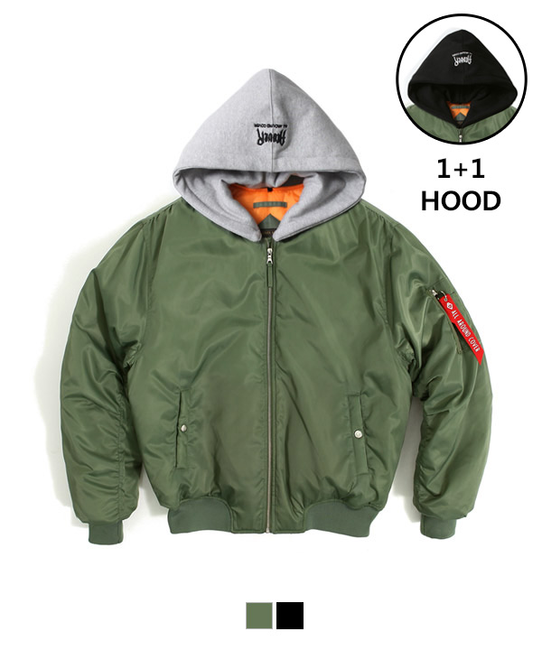 Hood Shirring MA-1 Padding Jacket Khaki