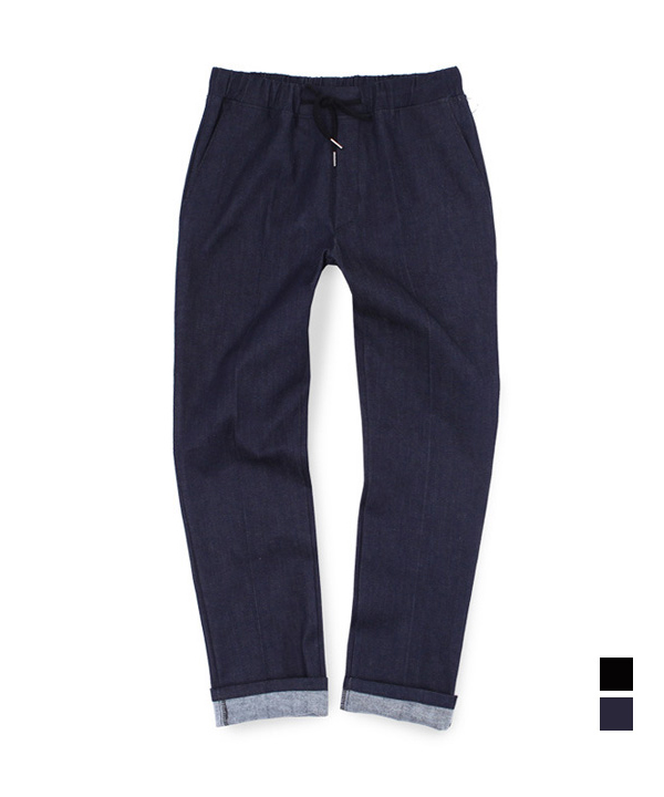 Denim Two Pocket Banding Pants Blue