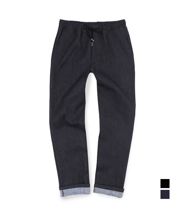 Denim Two Pocket Banding Pants Black