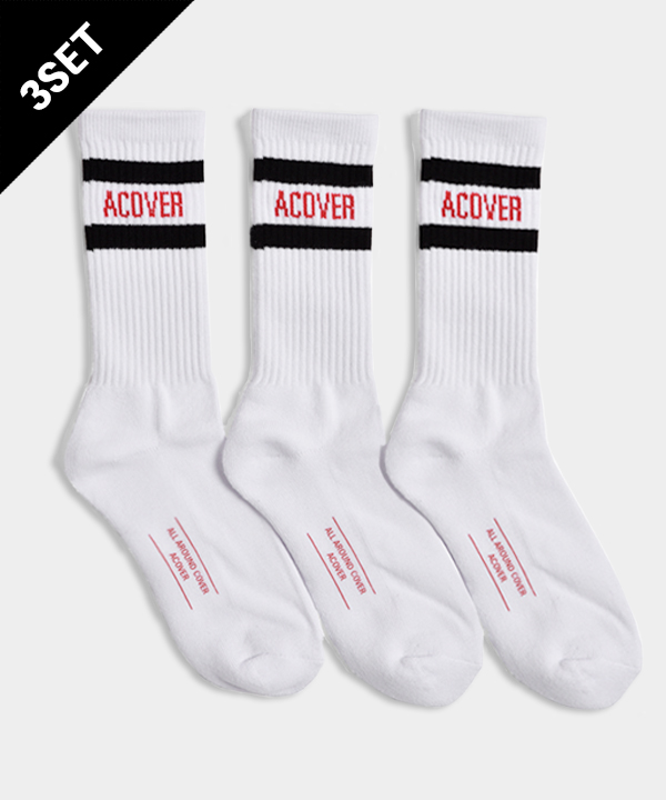 [3SET]UNISEX ACOVER STRIPE SOCKS