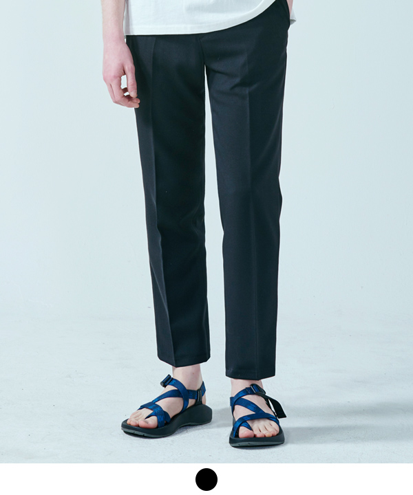 [6월2일예약배송] Wide Fit Ankle Slacks Black