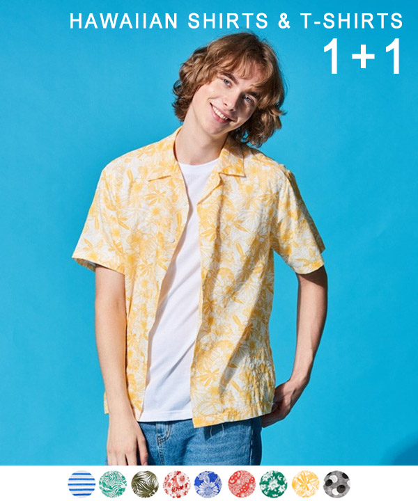 [1+1] HAWAIIAN SHIRTS + COOL BASIC T-SHIRTS