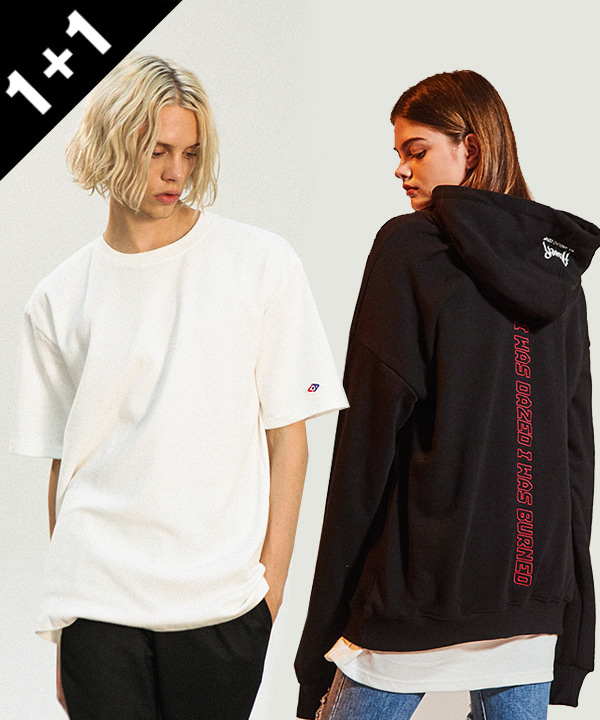 [1+1] 2ND DAZED PRINTING TUMBLE HOODIE + Double Cotton Long T-Shirts