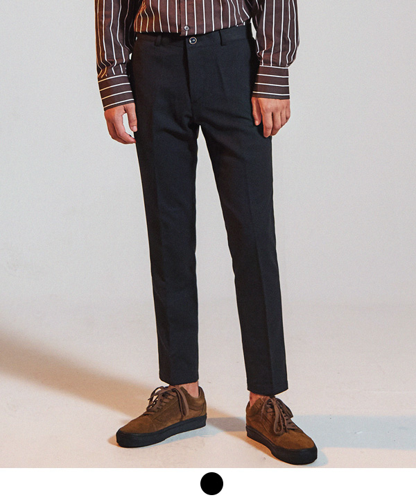 [9월21일 예약배송] 9부 Standard Fit Ankle Slacks Black