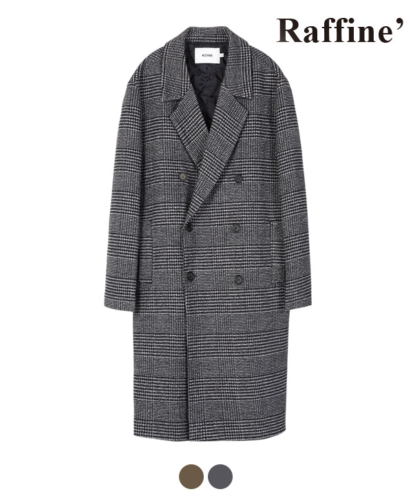[11월24일 예약발송]CHECK DOUBLE BREAST COAT CHARCOAL