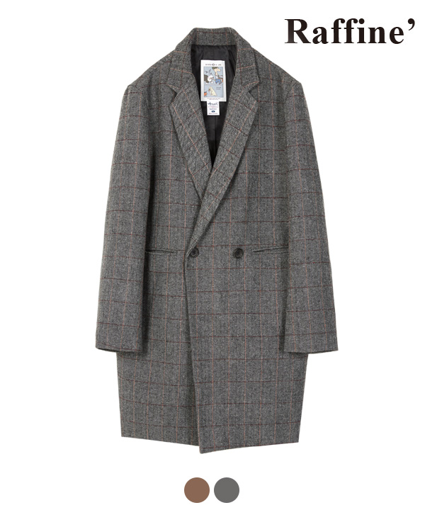 CHECK HERRINGBONE DOUBLE COAT CHARCOAL