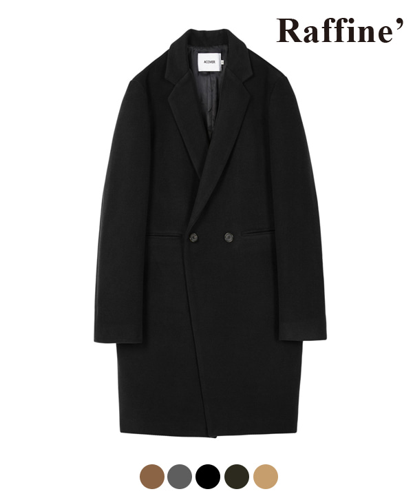 HEAVY WOOL BLEND DOUBLE COAT BLACK