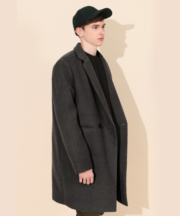 Heavy Line Wool Double Coat Charcoal