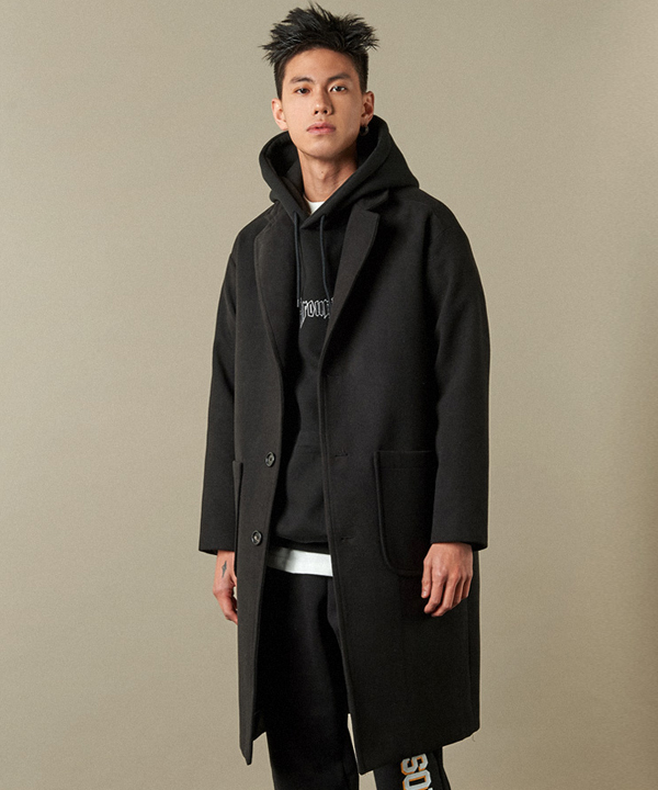 Pocket Wool Single Coat Black