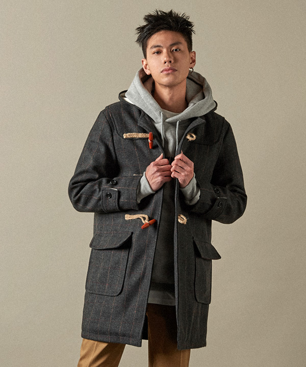 Herringbone Duffle Coat Charcoal