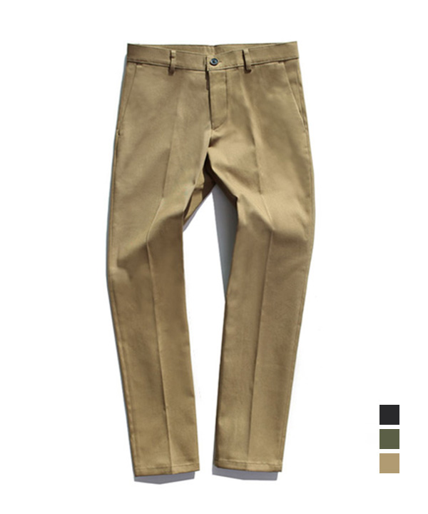 [기모] Slim Straight Cotton Pants Beige