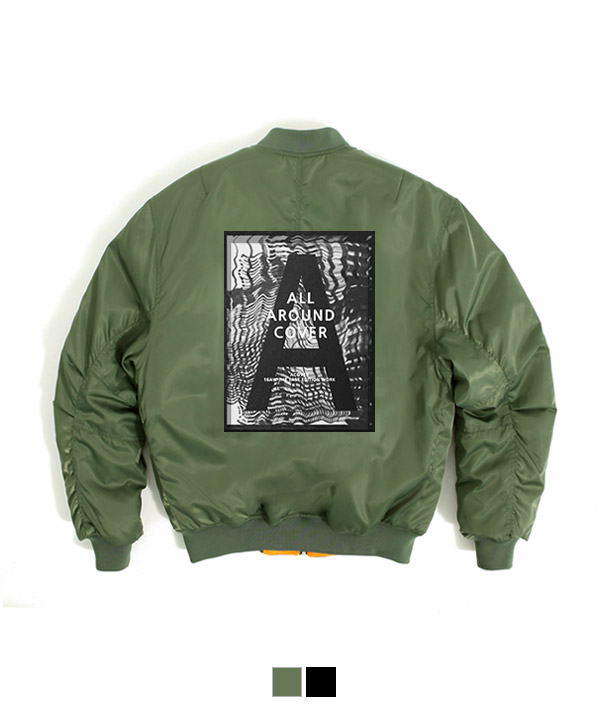 Graffiti Shirring MA-1 Padding Jacket Khaki