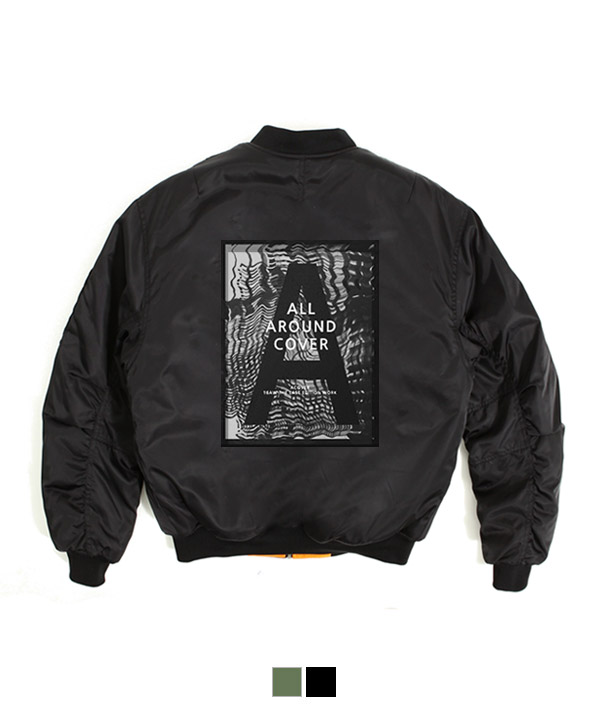 Graffiti Shirring MA-1 Padding Jacket Black