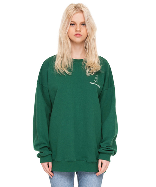 NEEDLEPOINT A LOGO SWEATSHIRTS GREEN
