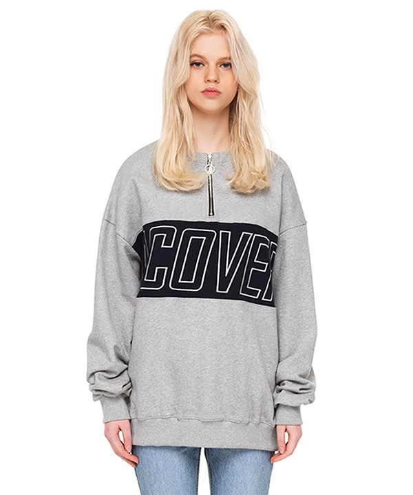 O RING ZIPPER COLOR BLOCK SWEATSHIRT GRAY