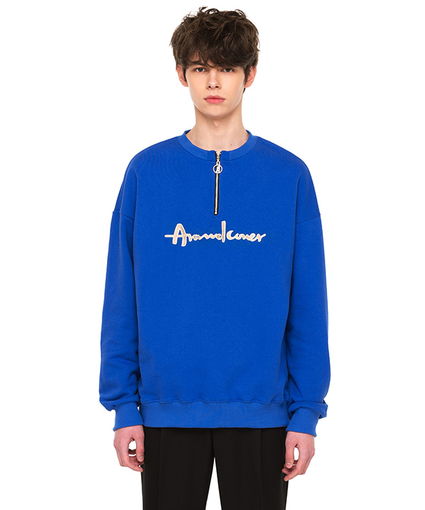 O RING HAIF ZIP UP SWEATSHIRT COBALT