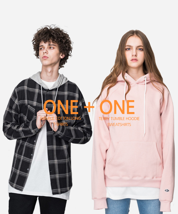 [1+1] Terry Tumble Hoodie + Double Cotton Long T-Shirts