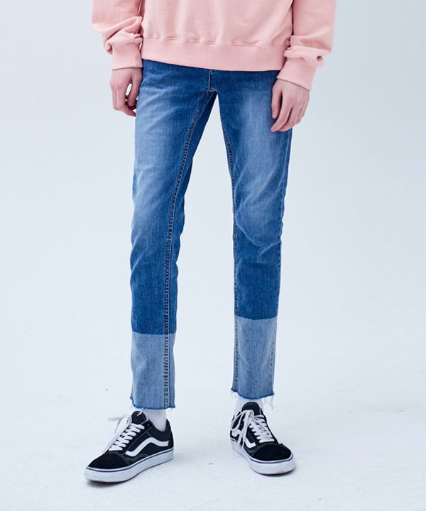 TWO-TONE BLOCK WASHED CUTTING JEANS