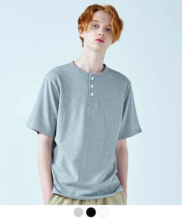 [6월1일예약배송]BUTTON HENRY NECK T-SHIRTS
