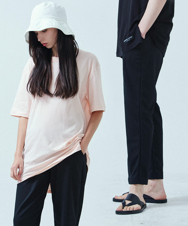 [1+1] PERFECT SLIM BANDING SLACKS +BASIC COOL SIDE-VENT T-SHIRTS