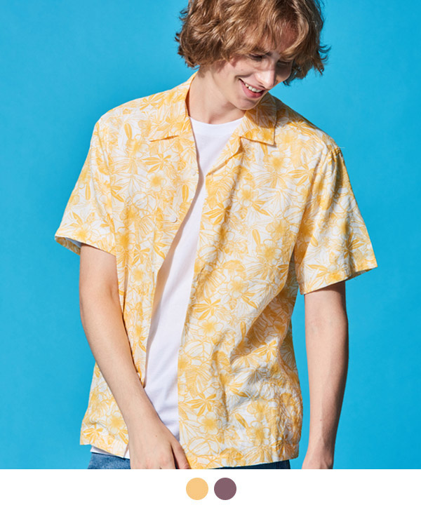 FLORAL OPEN COLLAR HAWAIIAN SHIRTS