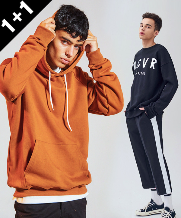 [1+1] Terry tumble hoodie +  8부 TRACK TR BANDING PANTS