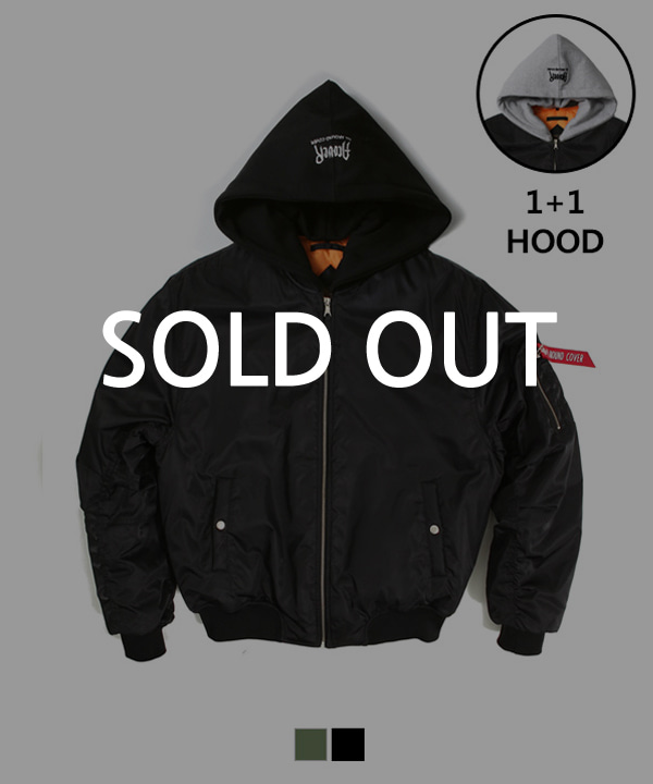 Hood Shirring MA-1 Padding Jacket Black