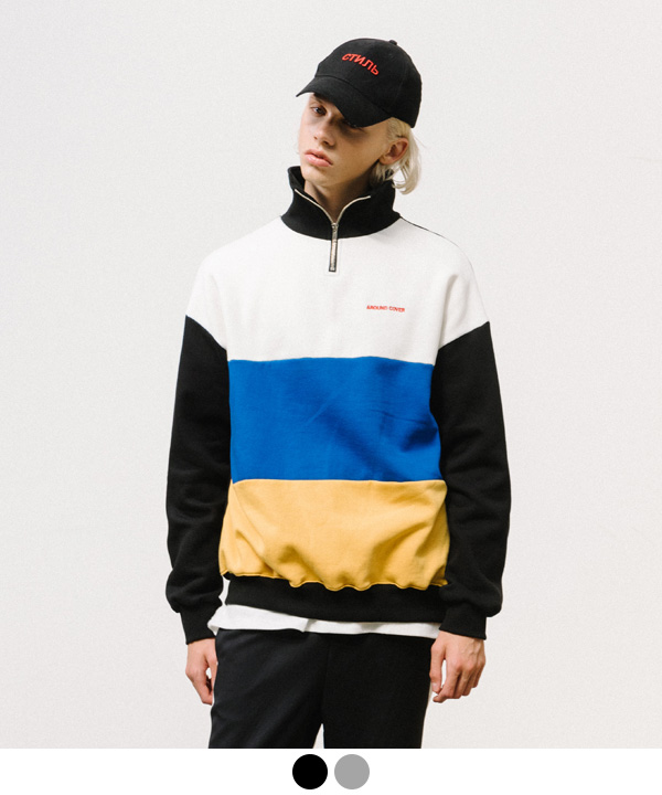 3 BLOCK HALF ZIP UP