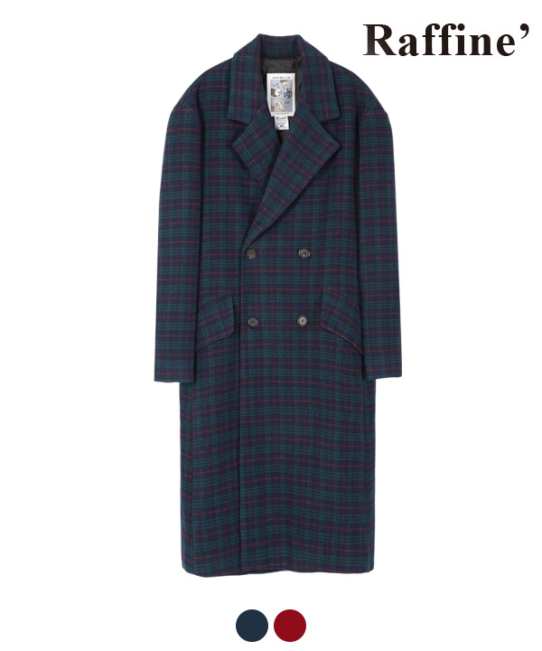 [12월18 예약발송]ARRANGEMENT CHECK DOUBLE COAT NAVY