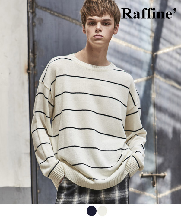 NARROW STRIPE CREWNECK SWEATER