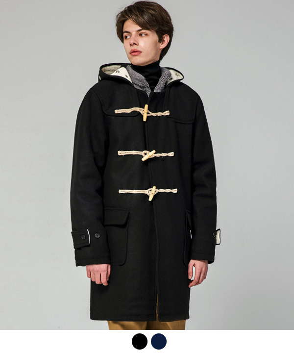 WOOL BLEND DUFFLE COAT BLACK/NAVY