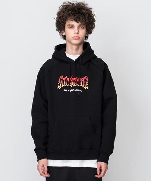 [3월27일예약배송][기모안감] Burn Printing Over Fit Tumble Hoodie Black
