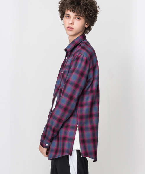 Side Zipper Check Shirt2 Purple