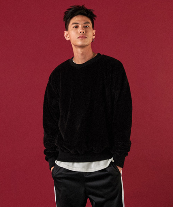 Pile Lined Series Sweatshirt Black