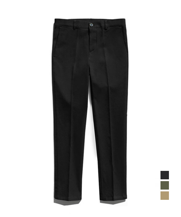 [기모] Slim Straight Cotton Pants Black