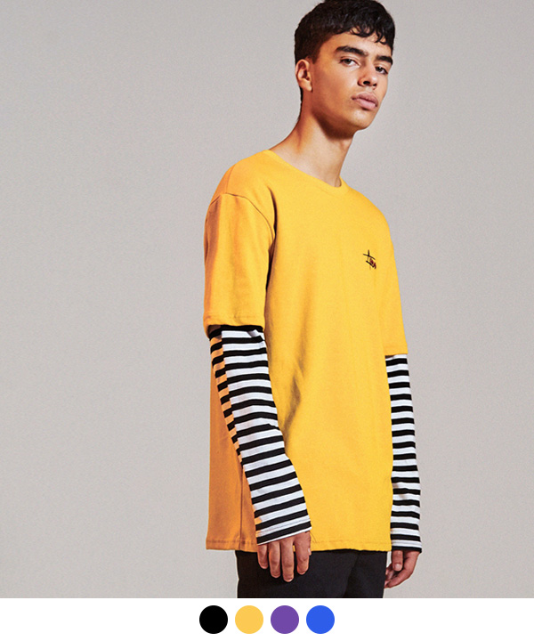 HIDE STRIPE LAYERED T-SHIRTS